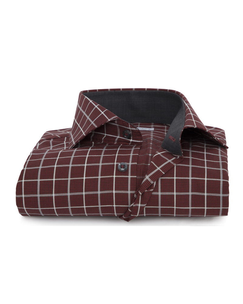 XOOS Men's burgundy checkered fitted dress shirt