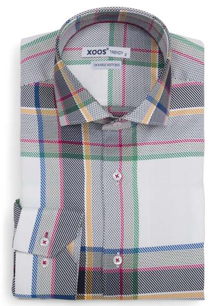 XOOS Men's white woven Madras checkered fitted dress shirt (Double Twisted)
