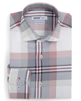 XOOS Men's white woven navy and red checkered fitted dress shirt (Double Twisted)
