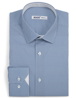 XOOS Men's fitted dress shirt with blue circle prints
