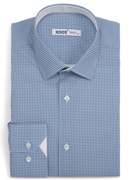 XOOS Chemise homme bleue à motifs cercle imprimés doublure jaquard blanc