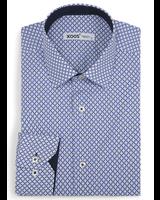 XOOS Chemise homme bleue à motifs losanges imprimés doublure navy