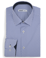 XOOS Men's fitted dress shirt with blue diamond and circle prints