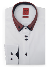 XOOS Men's white fitted dress shirt red checkered and navy lining (Double buttons and double collar)