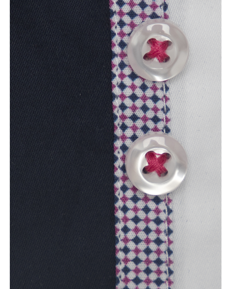 XOOS Men's navy blue fitted dress shirt red checkered and white lining (Double buttons and double collar)