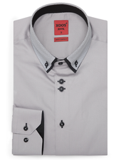 XOOS Men's gray fitted dress shirt gray checkered and black lining (Double buttons and double collar)