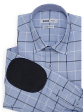 XOOS Men's lightblue shirt with navy checks and elbowpads (Double Twisted)