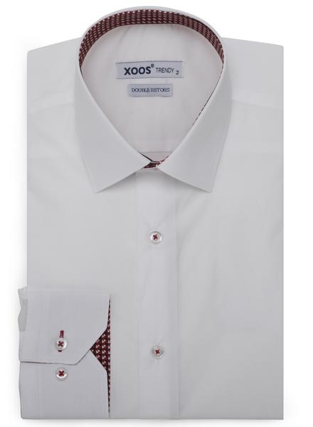 XOOS Chemise homme blanche doublure rouge à motifs imprimés (Double Retors)