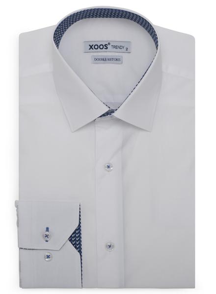 XOOS Chemise homme blanche doublure bleue à motifs imprimés (Double Retors)