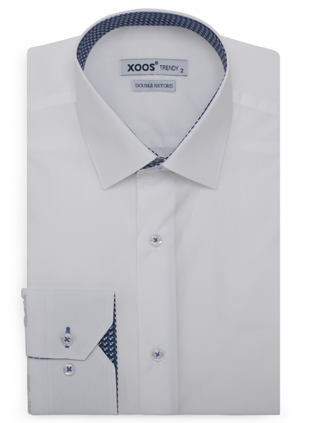 XOOS Men's white dress shirt with blue printed lining (Double Twisted)