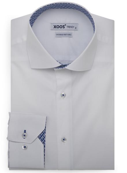 XOOS Chemise homme blanche doublure bleue à motifs tissés (Double Retors)