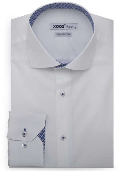 XOOS Men's white dress shirt with blue woven lining (Double Twisted)