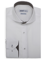 XOOS Men's white dress shirt with copper woven lining (Double Twisted)