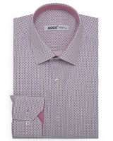 XOOS Men's printed pink and navy square pattern dress shirt