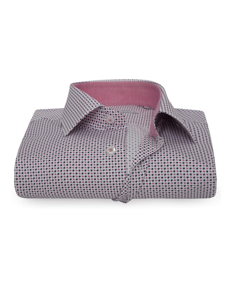 XOOS Men's printed pink and navy square pattern dress shirt