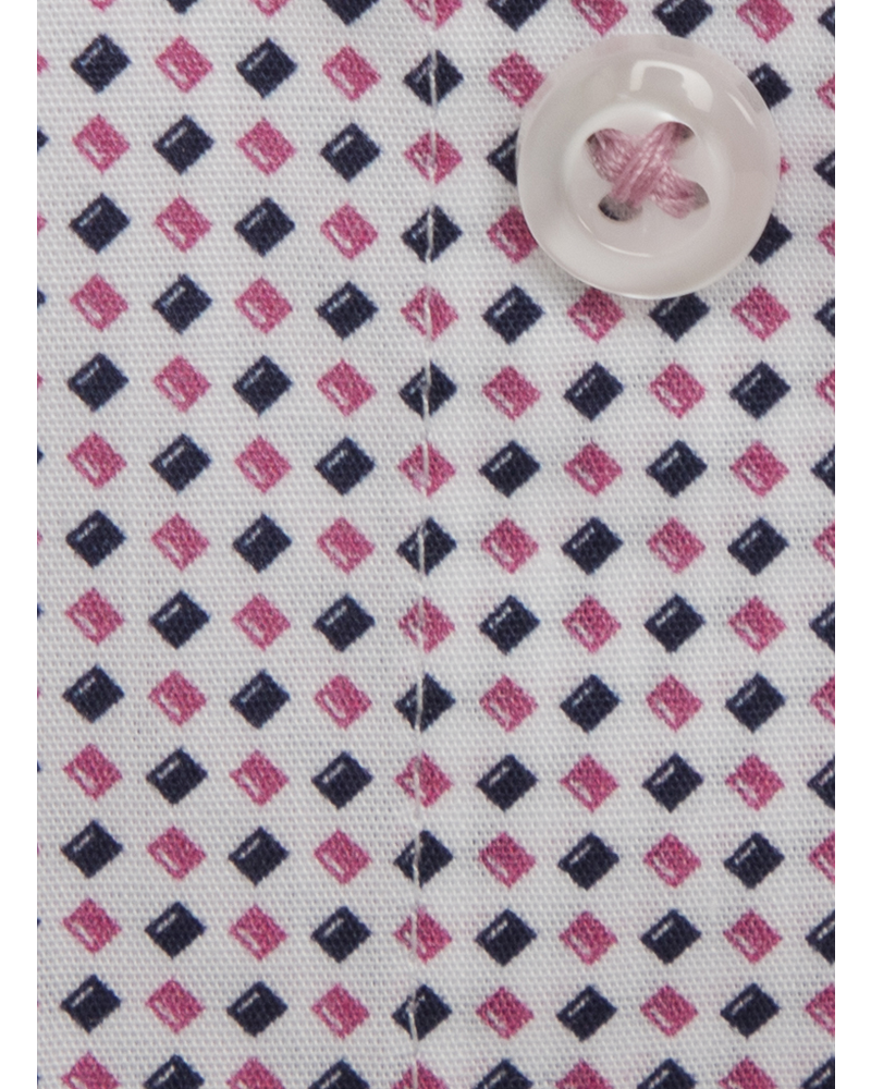 XOOS Chemise homme à motifs en losange rose et navy imprimés