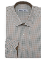 XOOS Men's printed sand and khaki square pattern dress shirt