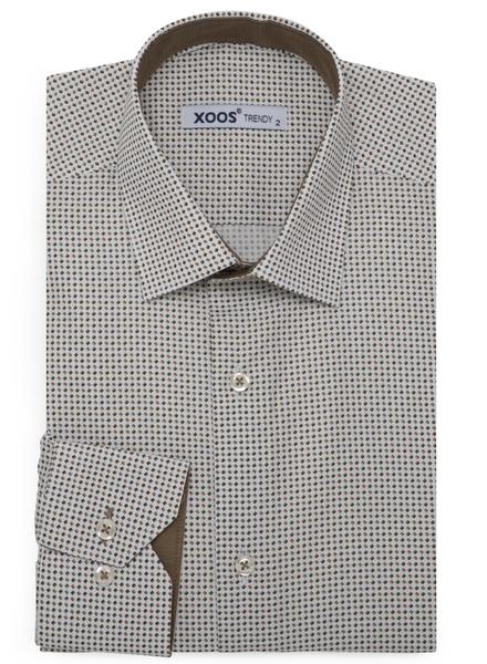 XOOS Men's printed sand and khaki square pattern dress shirt
