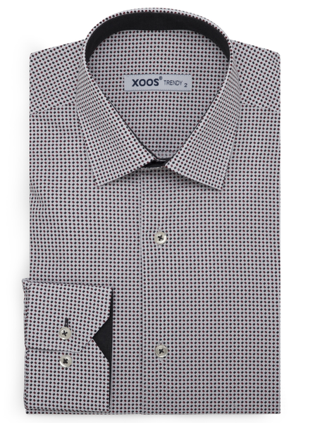 XOOS Men's printed gray and eggplant color square pattern dress shirt