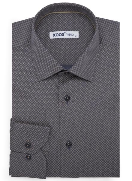 XOOS Chemise homme grise à petits motifs géométriques taupe