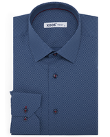 XOOS Men's blue oil polka dots dress shirt