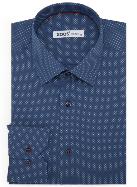 XOOS Men's blue oil polka dots dress shirt