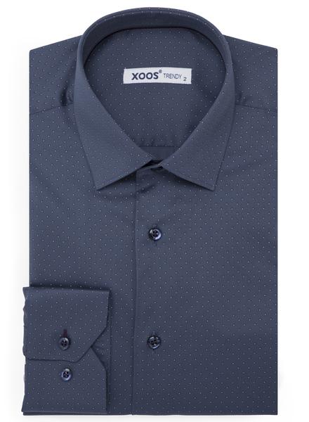 XOOS Men's gray blue polka dots dress shirt