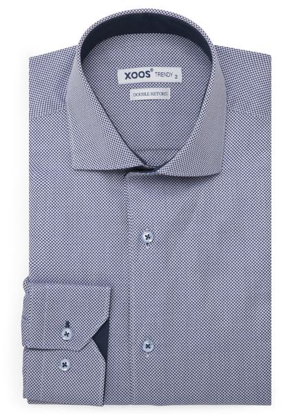 XOOS Chemise homme bleue à motifs pied-de-poule (Double Retors)