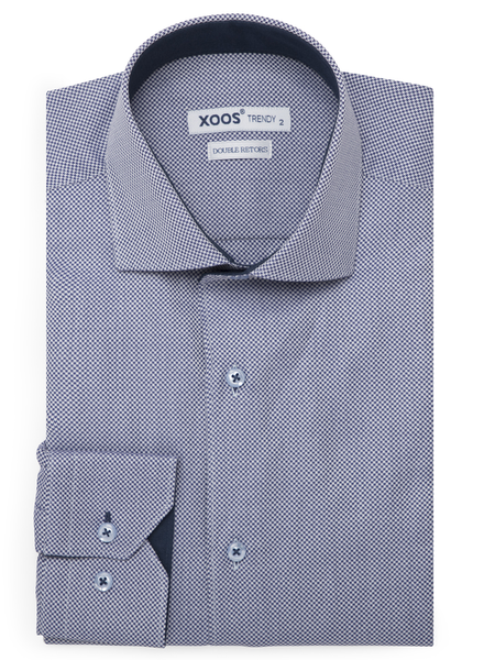 XOOS Men's blue houndstooth woven pattern dress shirt (Double Twisted)