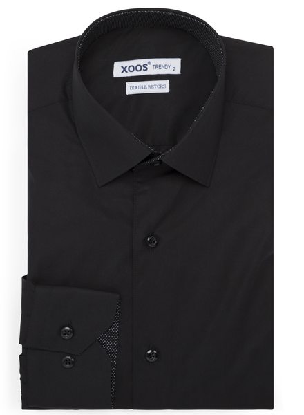 XOOS Men's Black fitted dress shirt with black polka dots lining (Double Twisted)