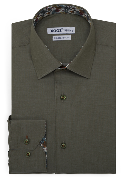 XOOS Khaki fitted dress shirt flower lining (Double Twisted)