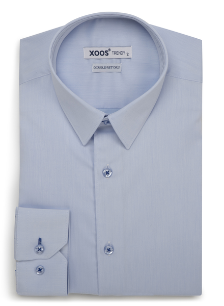 XOOS Chemise homme bleu ciel à galon bleu indigo (Double Retors)