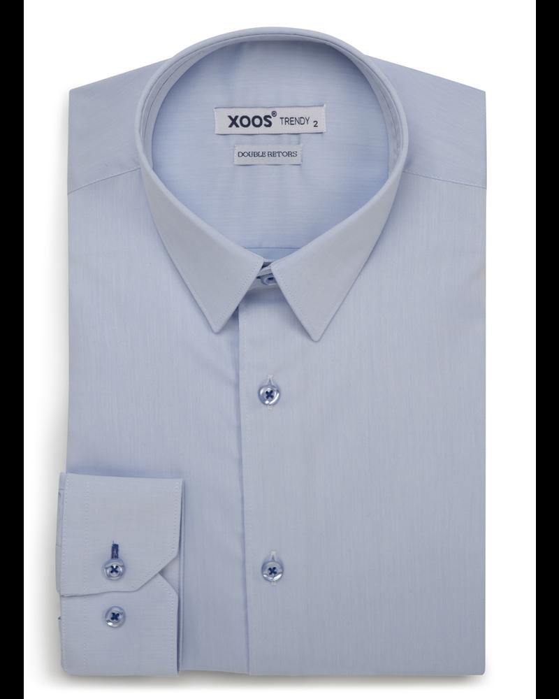 XOOS Men's light blue dress shirt indigo blue braid (Double Twisted)