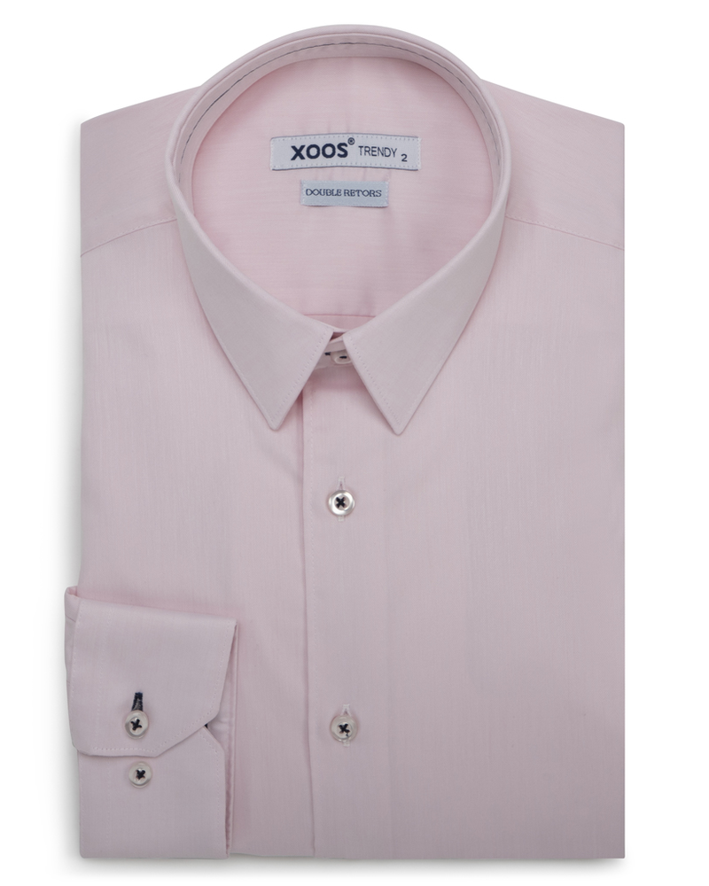 XOOS Men's pink fitted dress shirt dark gray braid (Double Twisted)