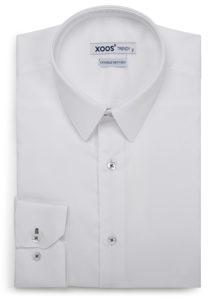 XOOS Men's white dress shirt dark gray braid (Double Twisted)