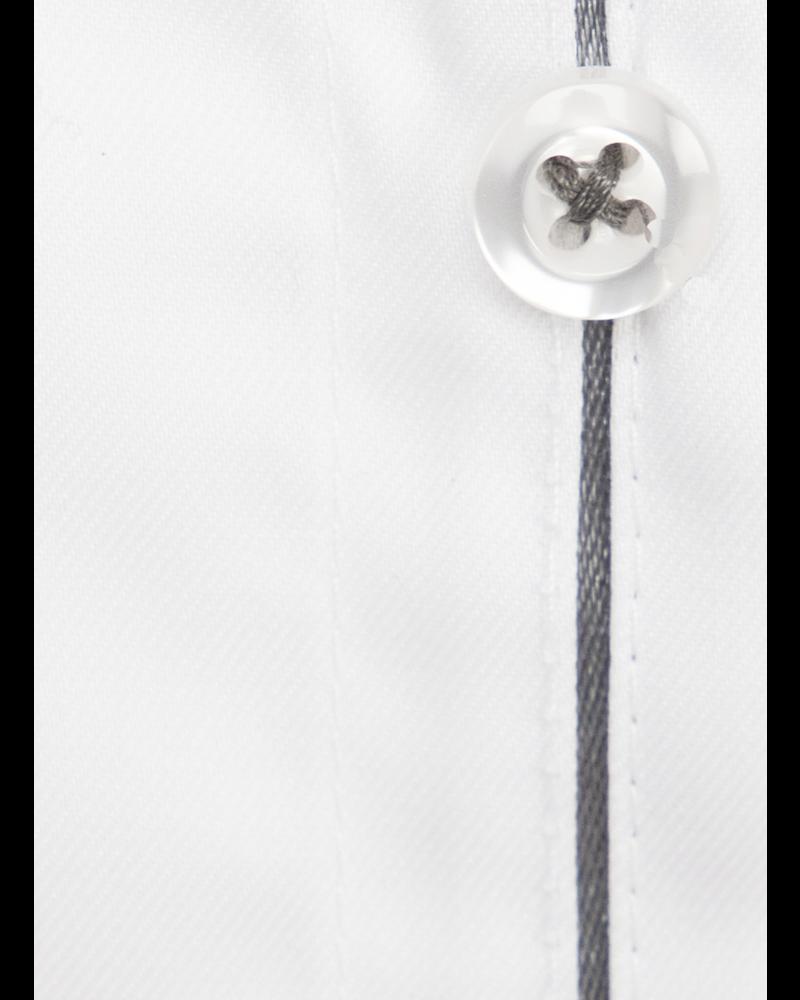 XOOS Men's white dress shirt dark gray braid (Double Twisted)
