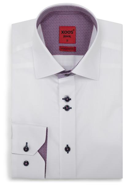 XOOS Chemise homme blanche doublures mauves à motifs et double boutonnage