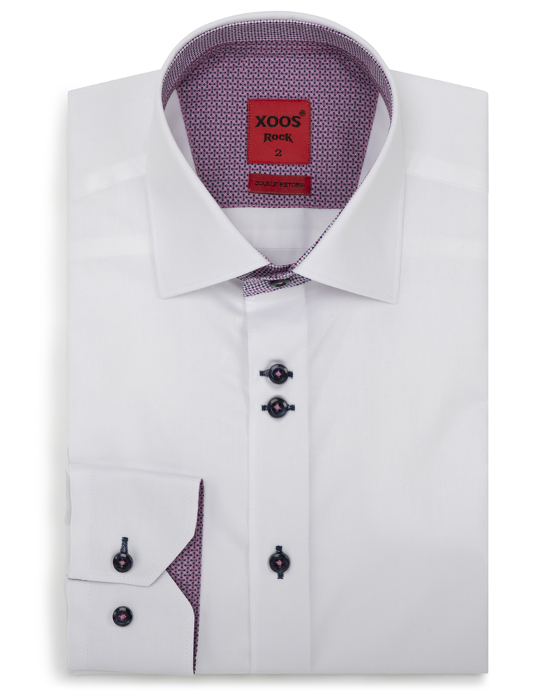 XOOS Men's white fitted dress shirt purple patterned lining (Double buttons)