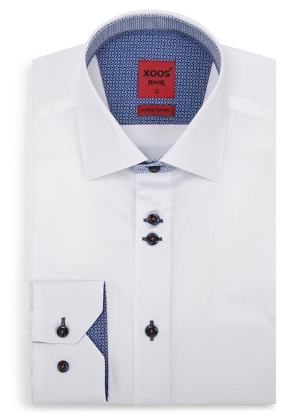 XOOS Chemise homme blanche doublures bleues à motifs et double boutonnage