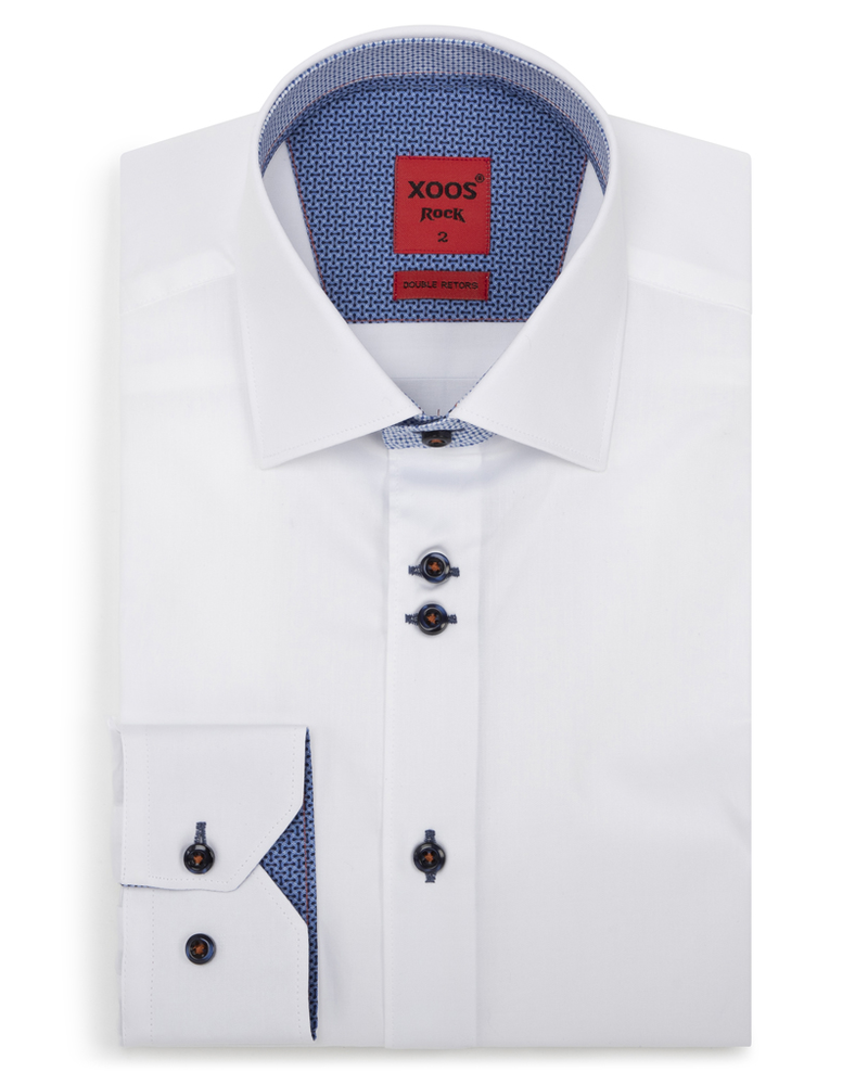 XOOS Men's white fitted dress shirt bluee patterned lining (Double buttons)