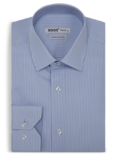XOOS Men's blue striped fitted dress shirt (Double Twisted)
