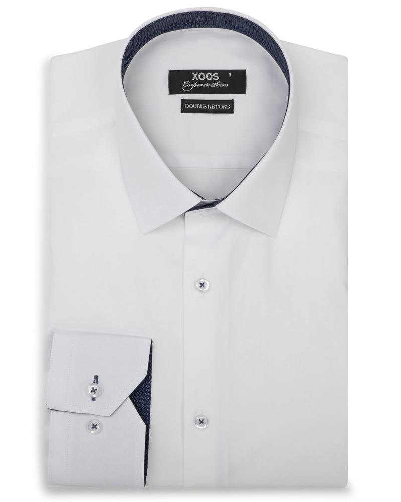XOOS Men's CLASSIC-FIT white dress shirt and navy woven patterned lining (Double Twisted)