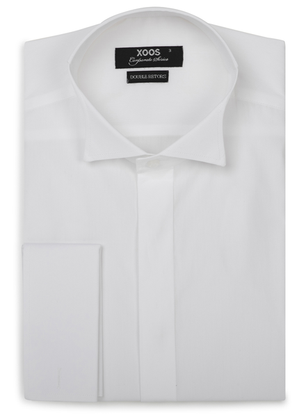 XOOS Men's CLASSIC-FIT white dress shirt (Wing tip collar)