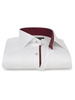 XOOS Men's CLASSIC-FIT white dress shirt and burgundy polka dots lining (Double Twisted)