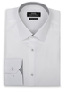 XOOS Men's CLASSIC-FIT white dress shirt and grey patterned lining (Double Twisted)
