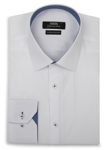 XOOS Men's CLASSIC-FIT white dress shirt and blue patterned lining (Double Twisted)