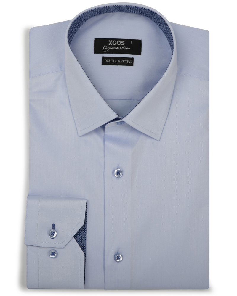 XOOS Men's blue fitted dress shirt and blue patterned lining (Double Twisted)