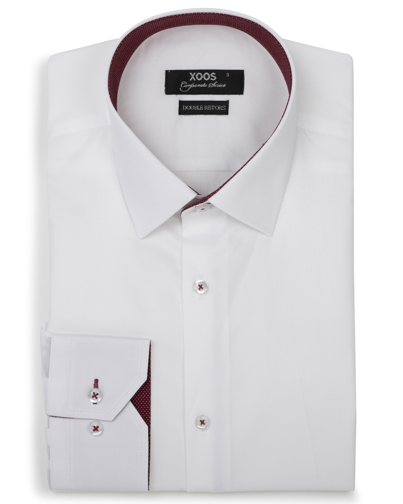 XOOS Men's white fitted dress shirt and burgundy polka dots lining (Double Twisted)