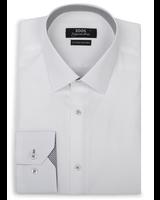 XOOS Chemise homme blanche doublure à motifs gris (Double Retors)