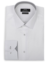 XOOS Men's white fitted dress shirt and grey patterned lining (Double Twisted)